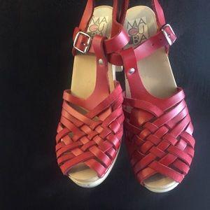 Maguba Swedish red wooden heel clog sandals